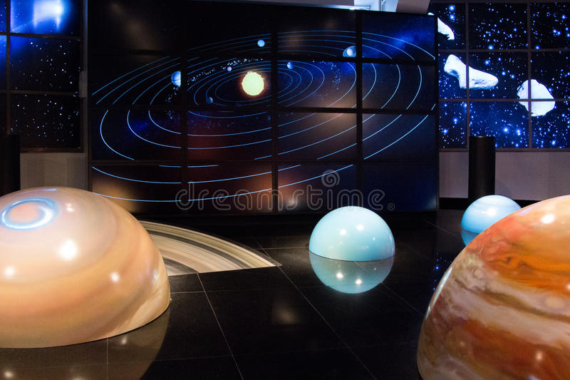 MOSCOW,RUSSIA - November 4, 2016: Solar system model in Moscow P. MOSCOW,RUSSIA - November 4, 2016: Solar system model in the Moscow Planetarium stock images