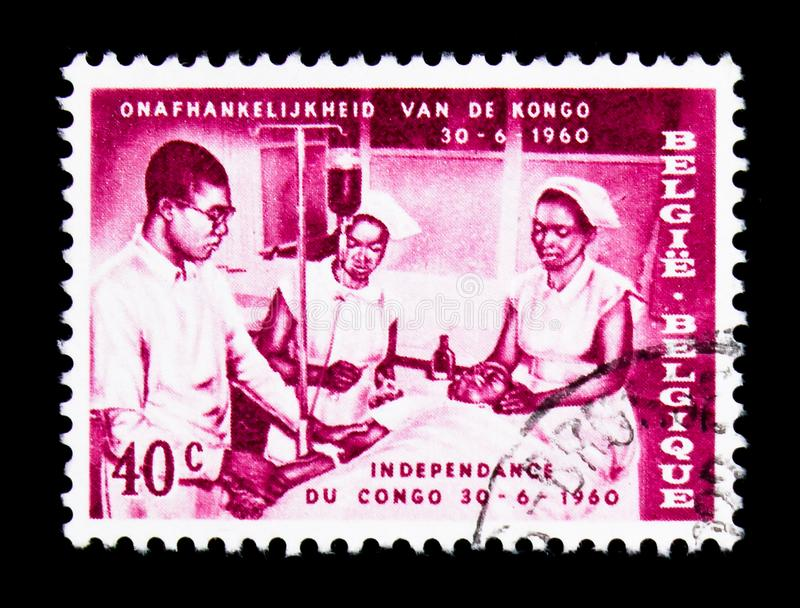 Medical team, Independence of Congo, serie, circa 1960 royalty free stock photo
