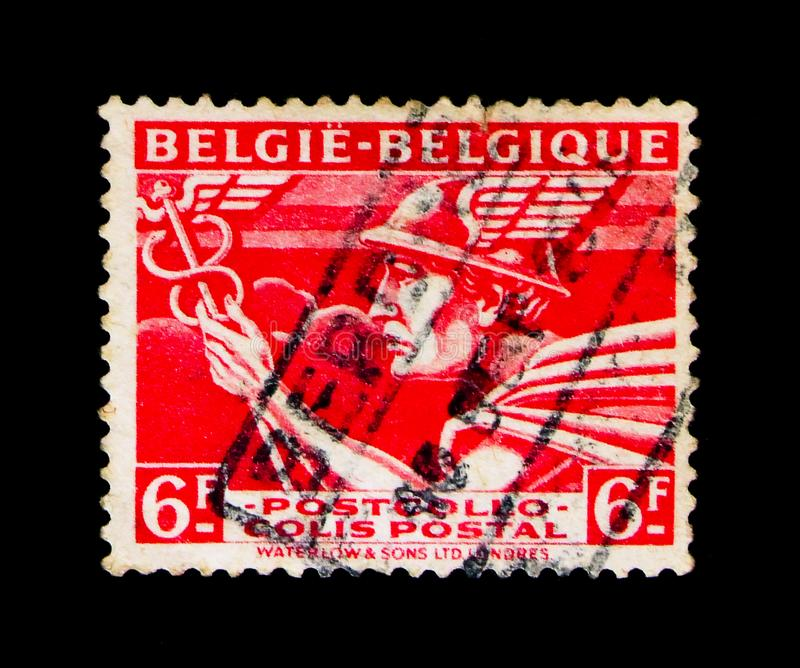 Parcel Post: Mercury - `Belgie - Belgique`, serie, circa 1945. MOSCOW, RUSSIA - NOVEMBER 23, 2017: A stamp printed in Belgium shows Parcel Post: Mercury - ` stock images