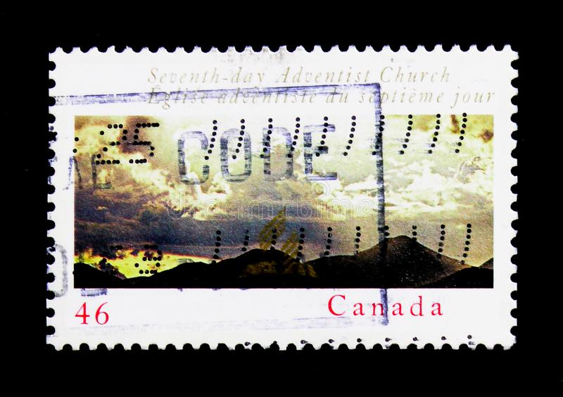 Seventh-Day Adventist Church, serie, circa 2000. MOSCOW, RUSSIA - NOVEMBER 24, 2017: A stamp printed in Canada shows Seventh-Day Adventist Church, serie, circa royalty free stock images