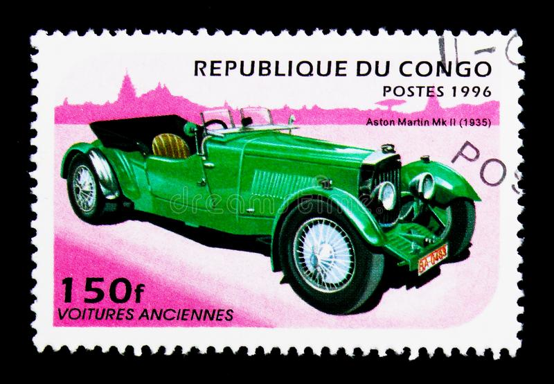 Aston Martin Mk II (1935), Vintage Cars serie, circa 1996. MOSCOW, RUSSIA - NOVEMBER 25, 2017: A stamp printed in Congo shows Aston Martin Mk II (1935), Vintage stock photos