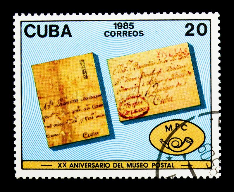 Letters, Postal Museum, 20th anniversary serie, circa 1985. MOSCOW, RUSSIA - NOVEMBER 25, 2017: A stamp printed in Cuba shows Letters, Postal Museum, 20th stock images