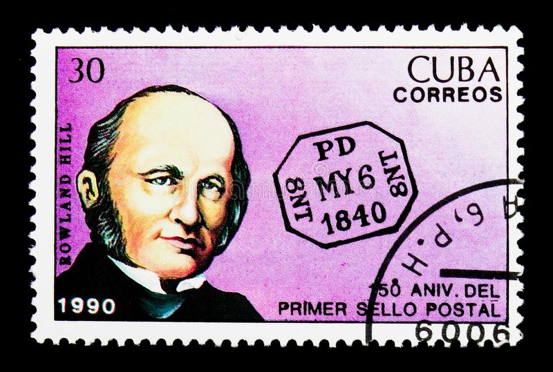 Rowland Hill, First Day postmark, 150th anniversary of Postage s. MOSCOW, RUSSIA - NOVEMBER 25, 2017: A stamp printed in Cuba shows portrait of Rowland Hill stock photography