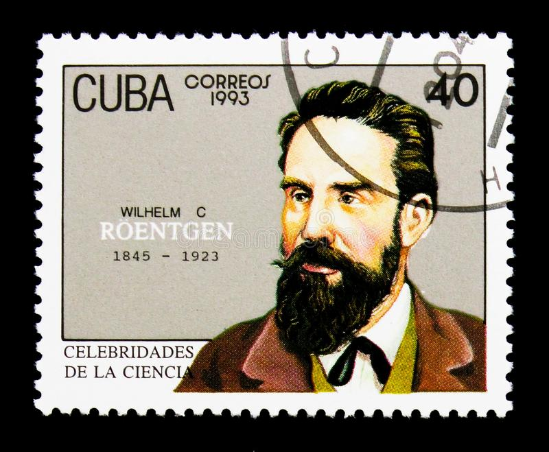 Wilhelm Conrad Roentgen, Scientists serie, circa 1993. MOSCOW, RUSSIA - NOVEMBER 25, 2017: A stamp printed in Cuba shows Wilhelm Conrad Roentgen, Scientists stock images