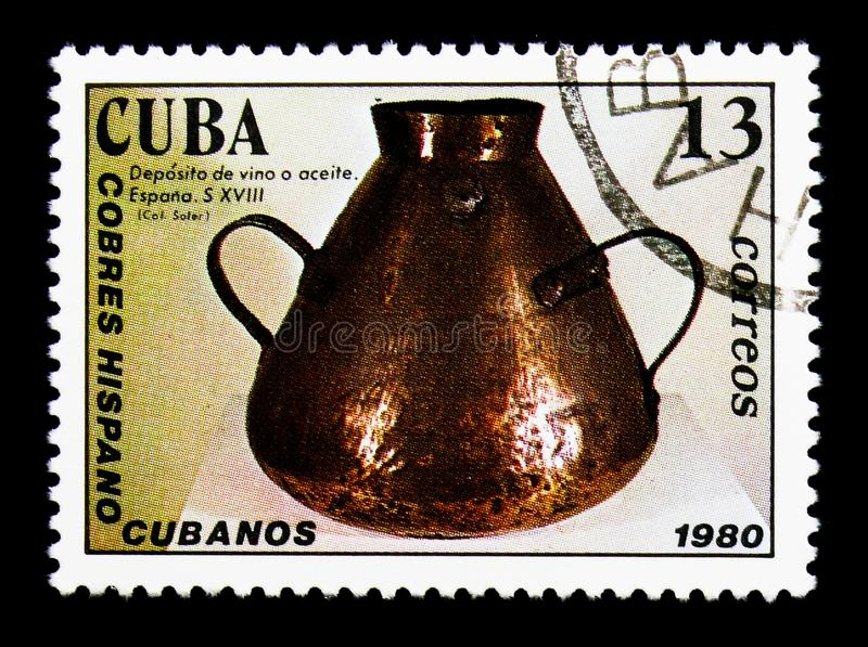 Wine Cases, Spanish-Cuban-copper crafts serie, circa 1980. MOSCOW, RUSSIA - NOVEMBER 25, 2017: A stamp printed in Cuba shows Wine Cases, Spanish - Cuban - copper royalty free stock photography