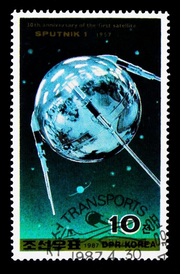 30th anniversary of Sputnik I, Transport serie, circa 1987 stock photography