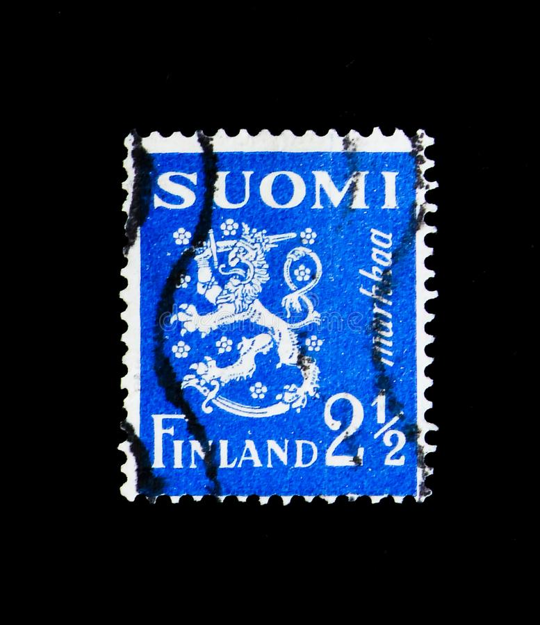 Coat of arms, serie, circa 1932. MOSCOW, RUSSIA - NOVEMBER 23, 2017: A stamp printed in Finland shows Coat of arms, serie, circa 1932 stock photos