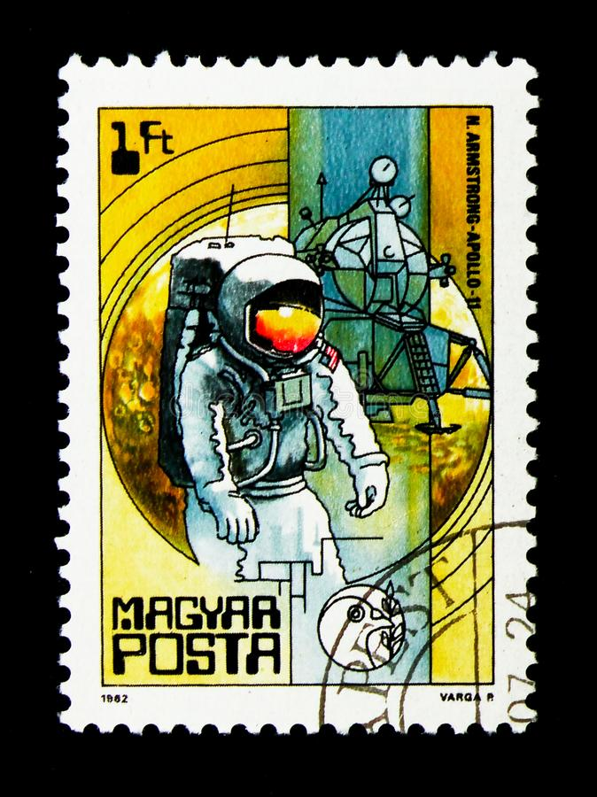 Armstrong, Apollo 11, 1969, Space Research serie, circa 1982. MOSCOW, RUSSIA - NOVEMBER 26, 2017: A stamp printed in Hungary shows Armstrong, Apollo 11, 1969 stock photography