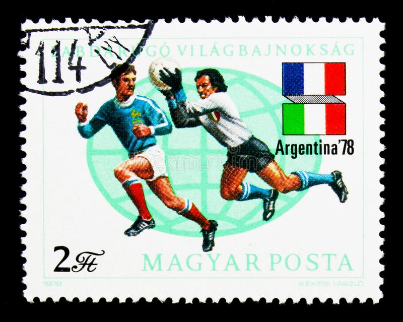 Football World Cup, Argentina 1978, serie, circa 1978. MOSCOW, RUSSIA - NOVEMBER 26, 2017: A stamp printed in Hungary shows Football World Cup, Argentina 1978 stock image