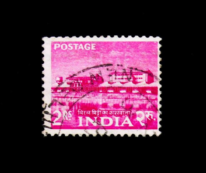 Rare earth factory, Five Year Plan - 2nd Issue 1959-63 serie, circa 1959. MOSCOW, RUSSIA - NOVEMBER 23, 2017: A stamp printed in India shows Rare earth factory royalty free stock photography