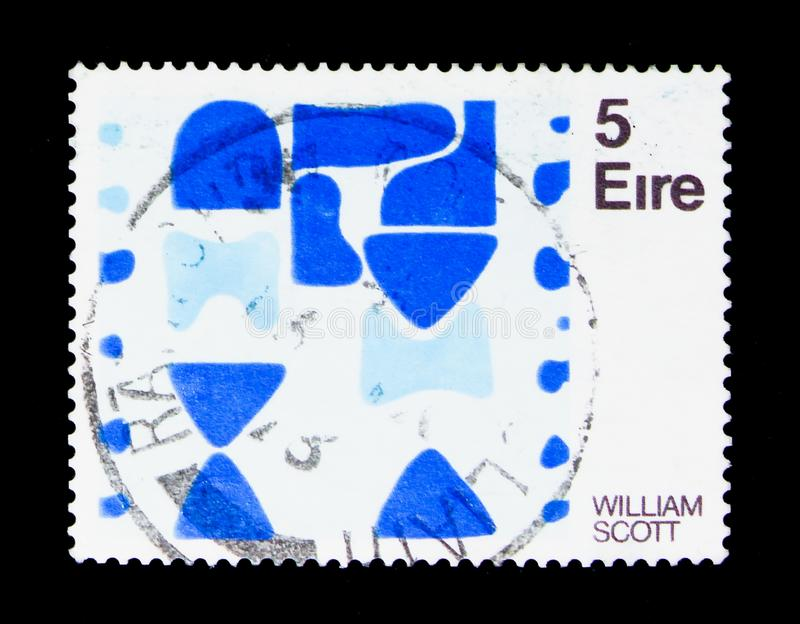 `Berlin Blues II` - William Scott, Contemporary Irish Art 5th issue serie, circa 1973. MOSCOW, RUSSIA - NOVEMBER 23, 2017: A stamp printed in Ireland shows ` stock photography
