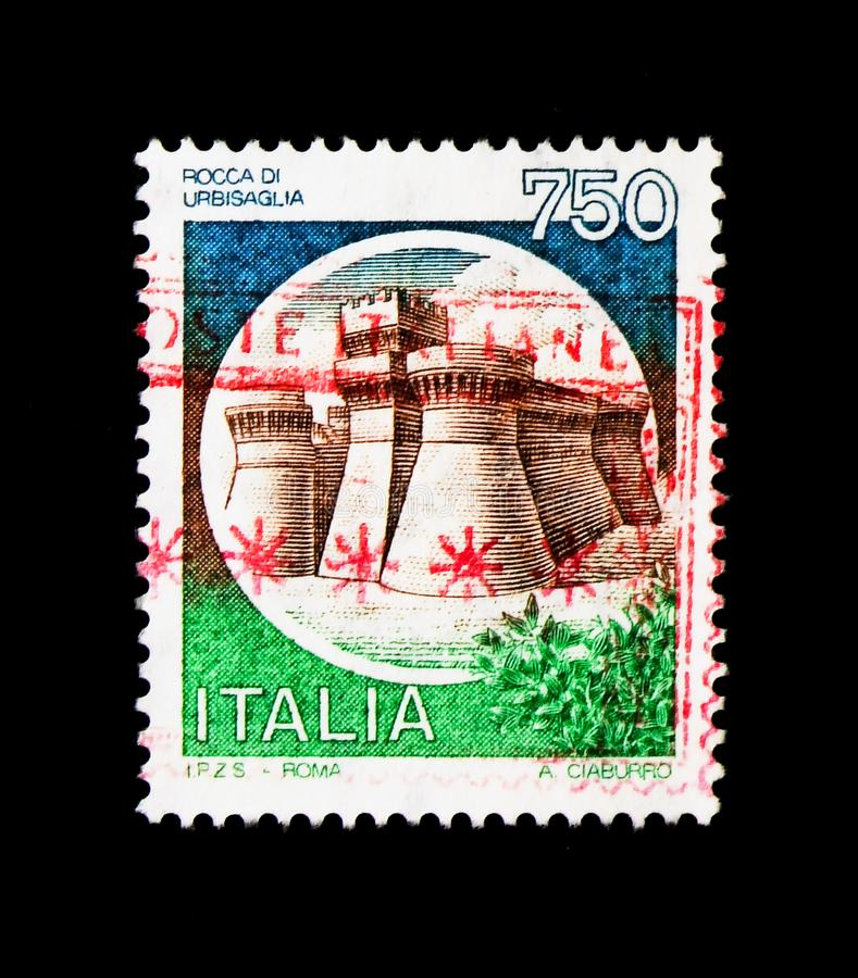 MOSCOW, RUSSIA - NOVEMBER 24, 2017: A stamp printed in Italy shows Castle Urbisaglia, serie, circa 1990 royalty free stock images