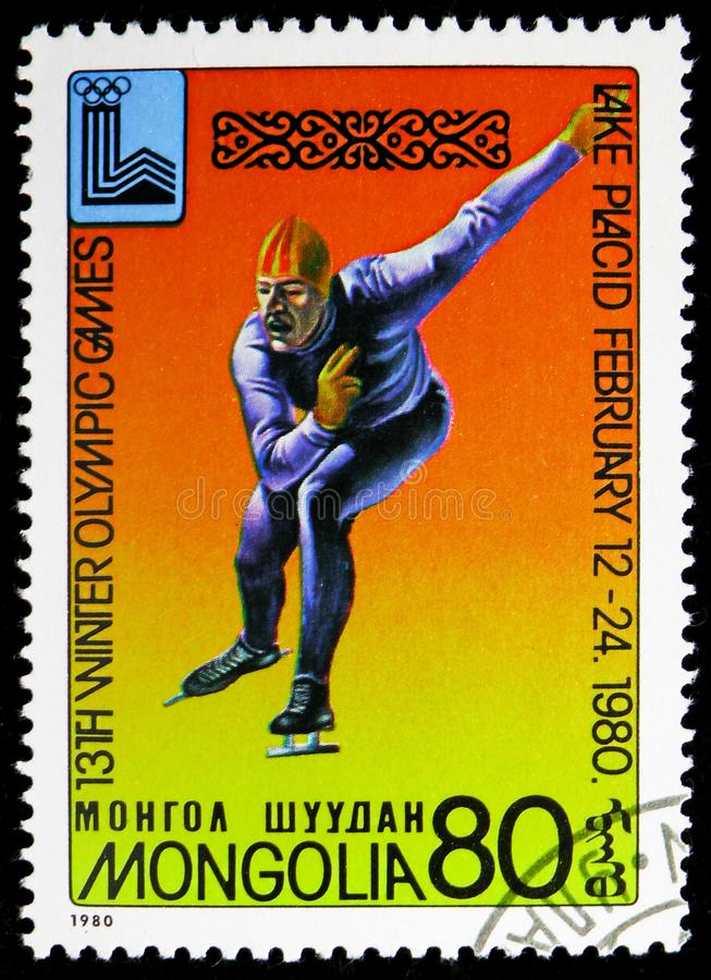 Speed skating, Winter Olympics 1980, Lake Placid serie, circa 1980. MOSCOW, RUSSIA - NOVEMBER 10, 2018: A stamp printed in Mongolia shows Speed skating, Winter royalty free stock photos