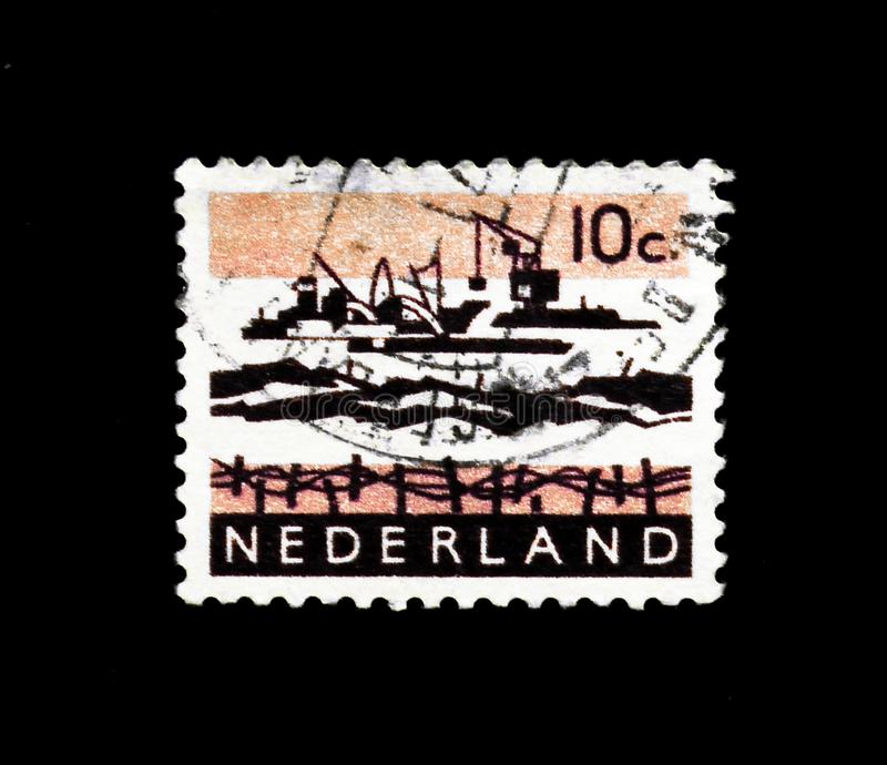 MOSCOW, RUSSIA - NOVEMBER 24, 2017: A stamp printed in Netherlands shows Delta Works, Landscapes serie, circa 1963 stock image