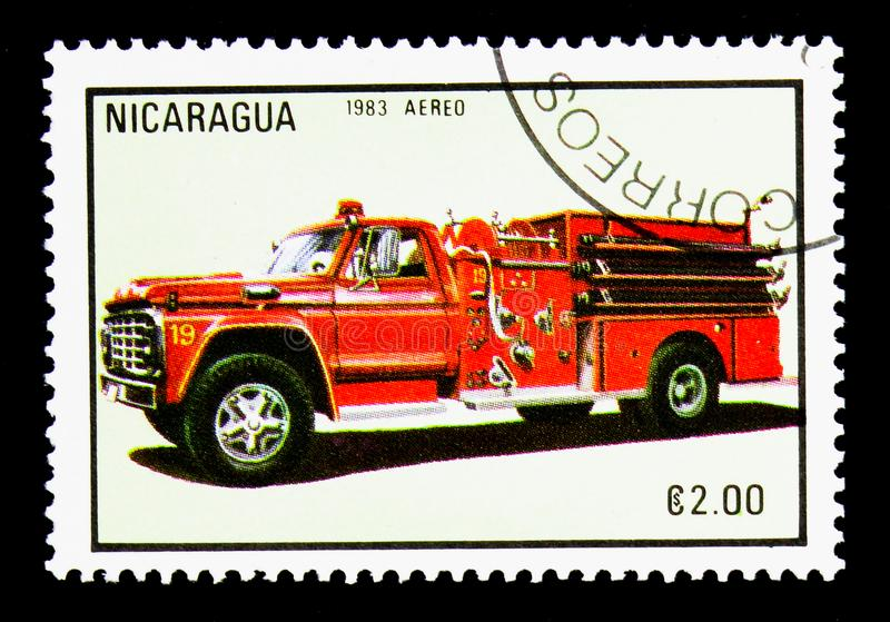 Firecar, Firetrucks serie, circa 1983 stock image