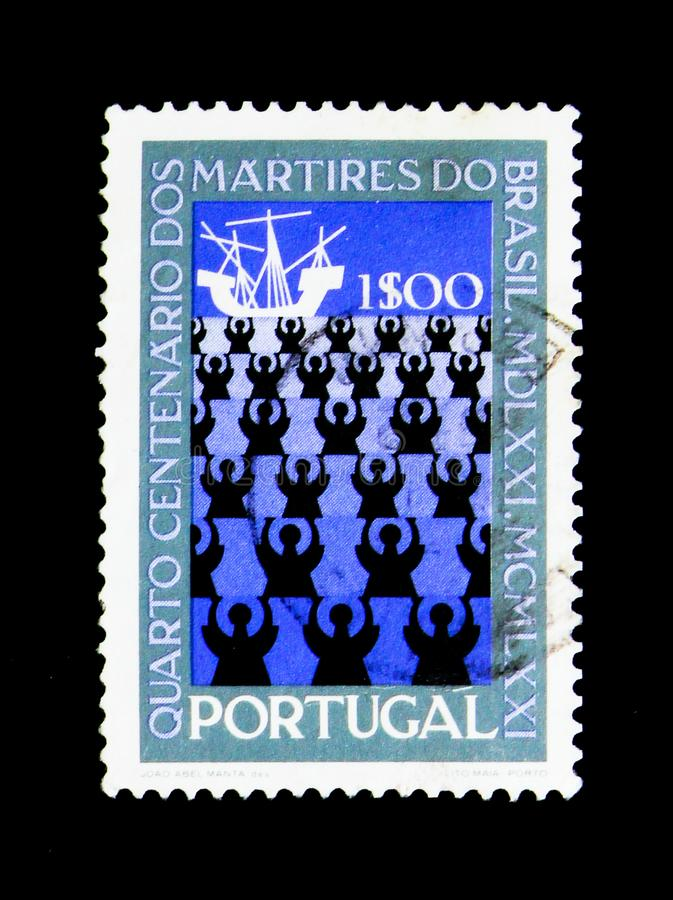 Missionaries and Ship, 400th Anniversary of Martyrdom of Brazil. MOSCOW, RUSSIA - NOVEMBER 24, 2017: A stamp printed in Portugal shows Missionaries and Ship stock images