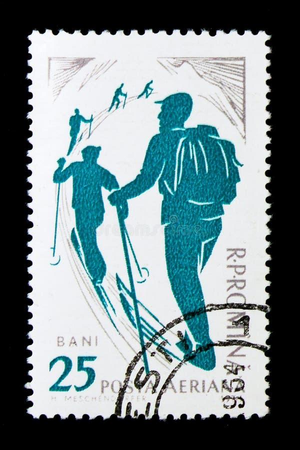 Skier ascending, Winter Sport serie, circa 1961 royalty free stock photo