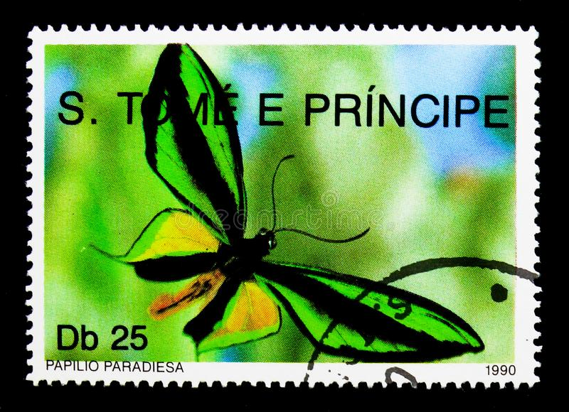 Paradise Birdwing (Ornithoptera paradisea), Butterflies serie, c. MOSCOW, RUSSIA - NOVEMBER 26, 2017: A stamp printed in Sao Tome and Principe shows royalty free stock photos