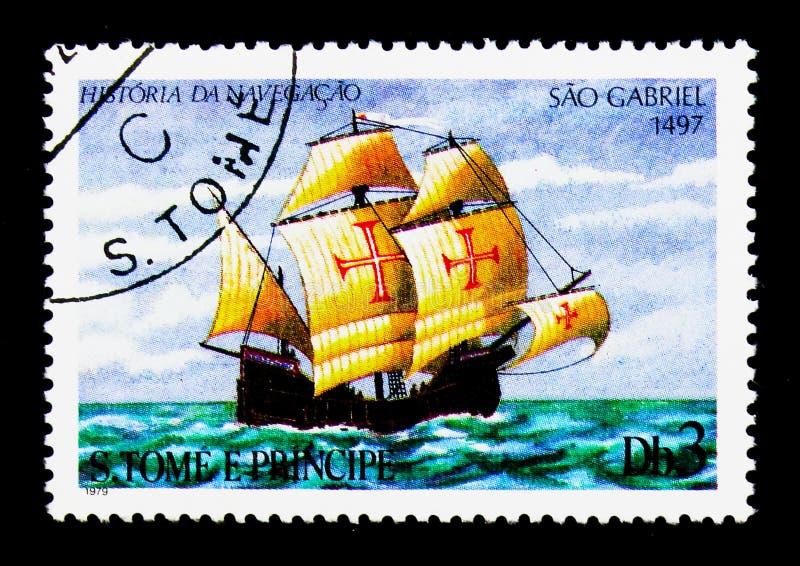 'Sao Gabriel ' (1497), Sailing ships serie, circa 1979. MOSCOW, RUSSIA - NOVEMBER 26, 2017: A stamp printed in Sao Tome and Principe shows 'Sao Gabriel ' (1497 stock photos