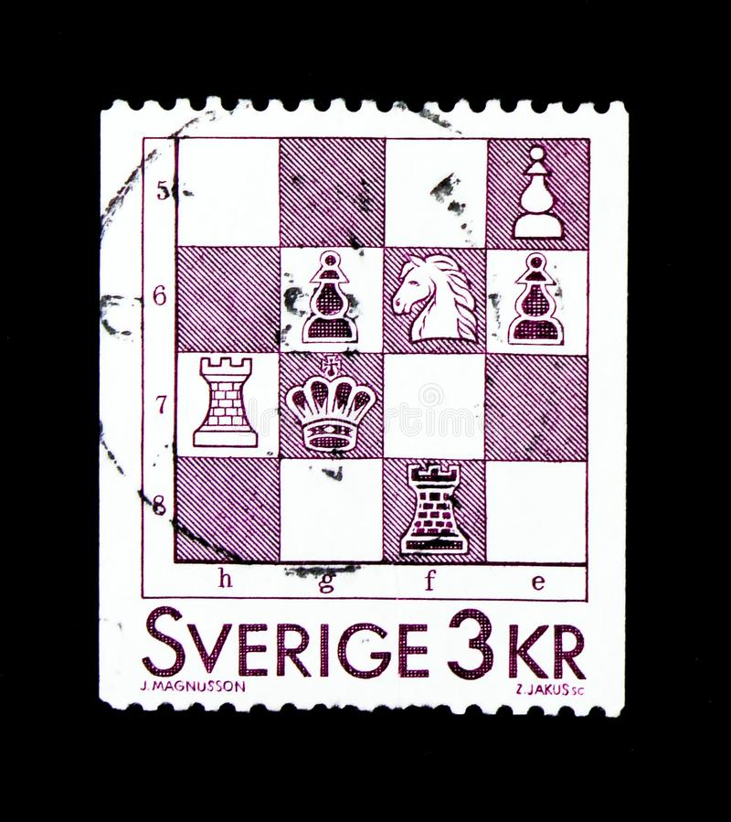 Chess, Games, serie, circa 1985. MOSCOW, RUSSIA - NOVEMBER 23, 2017: A stamp printed in Sweden shows Chess, Games, serie, circa 1985 stock photos