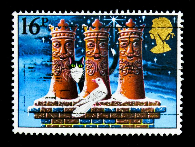 'The Three Kings' (chimney-pots), Christmas serie, circa 1983 stock photo