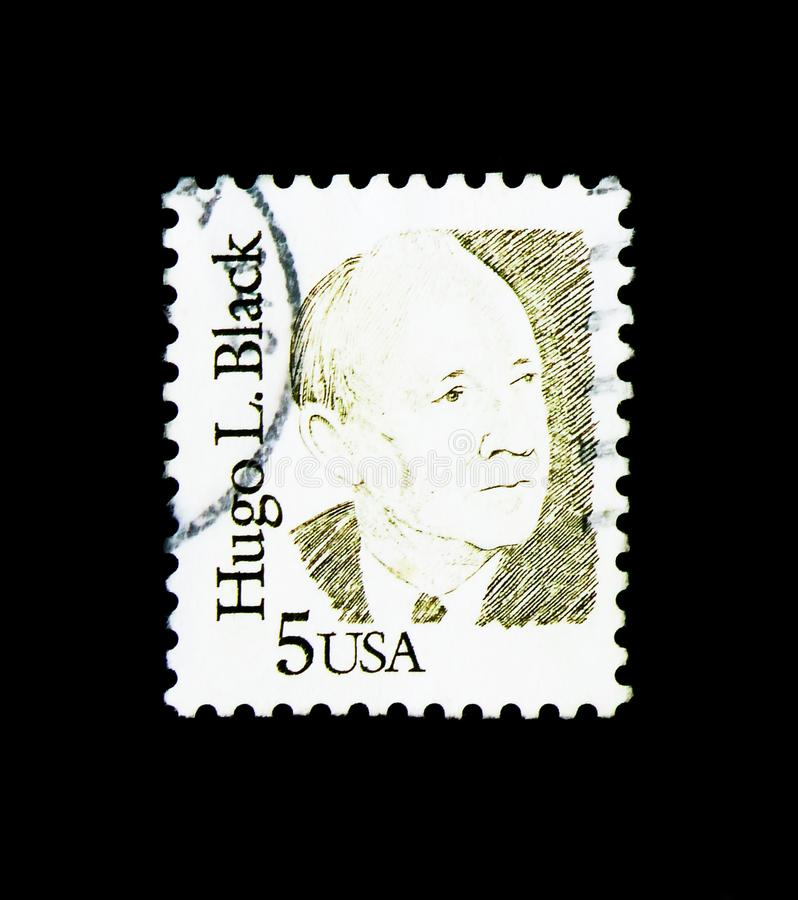Hugo Black, Great Americans serie, circa 1986. MOSCOW, RUSSIA - NOVEMBER 24, 2017: A stamp printed in USA shows Hugo Black, Great Americans serie, circa 1986 stock photography