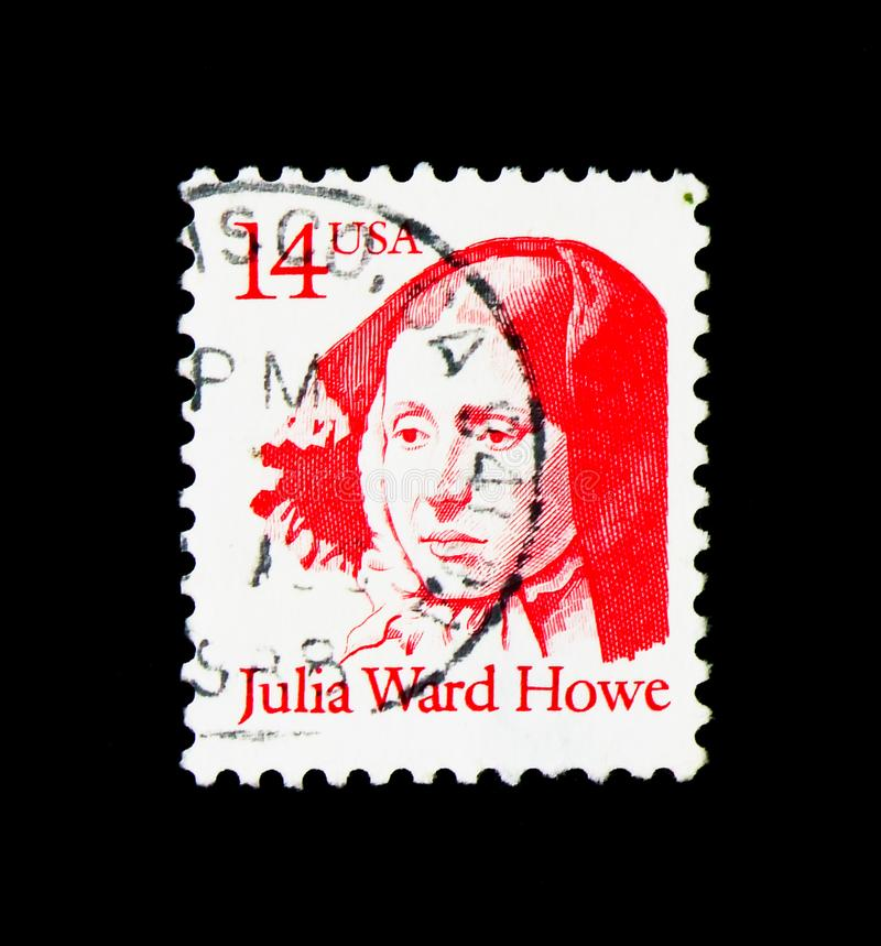 Julia Ward Howe, Great Americans serie, circa 1987. MOSCOW, RUSSIA - NOVEMBER 24, 2017: A stamp printed in USA shows Julia Ward Howe, Great Americans serie royalty free stock images