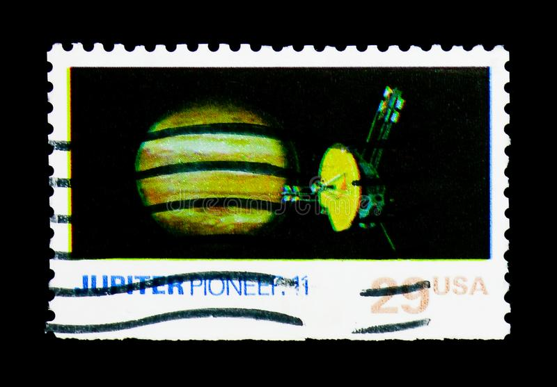 Jupiter, Pioneer 11, Space Exploration Issue serie, circa 1991. MOSCOW, RUSSIA - NOVEMBER 24, 2017: A stamp printed in USA shows Jupiter, Pioneer 11, Space royalty free stock images