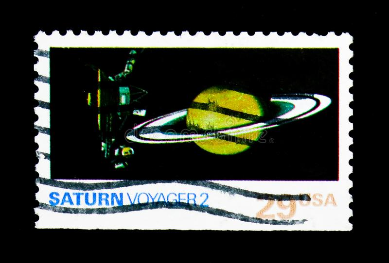 Saturn, Voyager 2, Space Exploration Issue serie, circa 1991. MOSCOW, RUSSIA - NOVEMBER 24, 2017: A stamp printed in USA shows Saturn, Voyager 2, Space royalty free stock photography