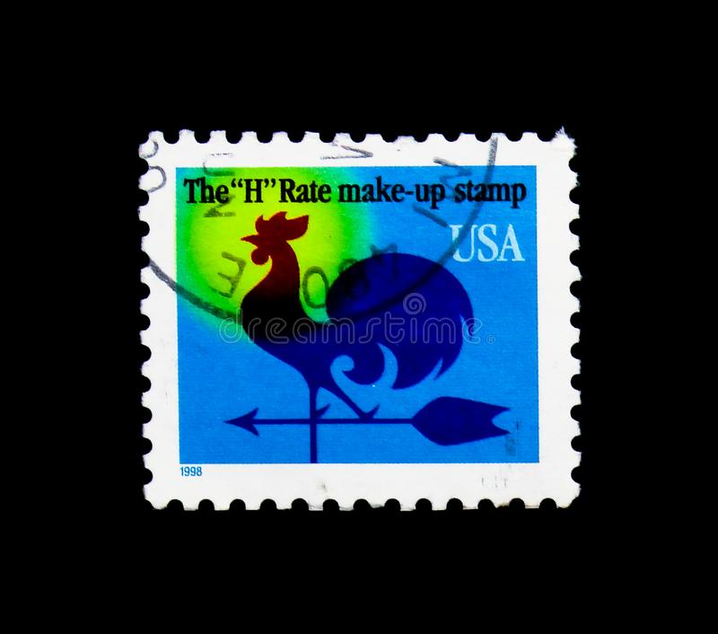 Weather Vane, serie, circa 1998. MOSCOW, RUSSIA - NOVEMBER 24, 2017: A stamp printed in USA shows Weather Vane, serie, circa 1998 stock photos