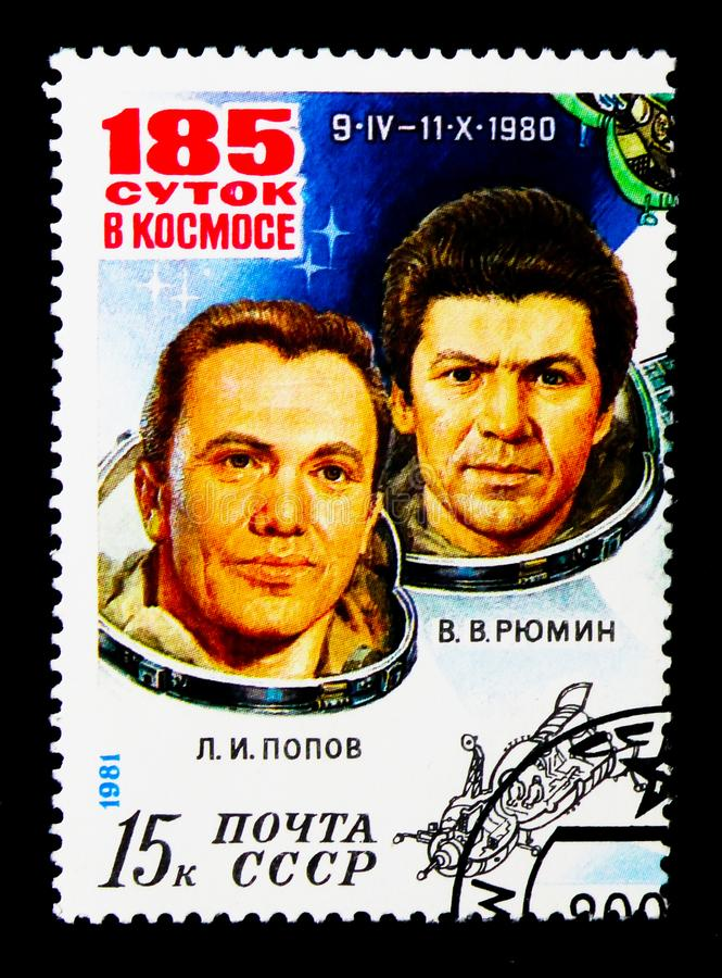 Space Research on Orbital Complex, 185 Days in Space of Cosmonauts Popov and Ryumin serie, circa 1981. MOSCOW, RUSSIA - NOVEMBER 24, 2017: A stamp printed in stock images