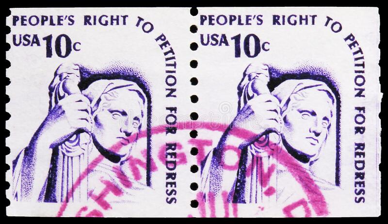 Two postage stamps printed in United States shows Contemplation of Justice by J.E. Fraser, Americana Issue serie, circa 1977. MOSCOW, RUSSIA - NOVEMBER 6, 2019 stock photo