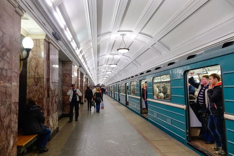 Underground train station in Moscow, Russia stock images
