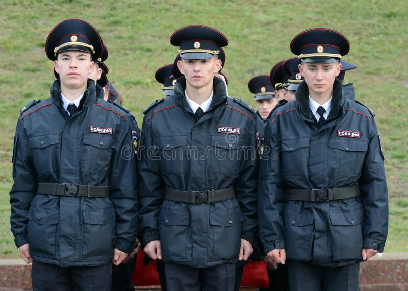 Cadets of the police of the Moscow Law University of the Ministry of Internal Affairs of Russia on the ceremonial building. MOSCOW, RUSSIA-OCTOBER 17, 2015 royalty free stock photo