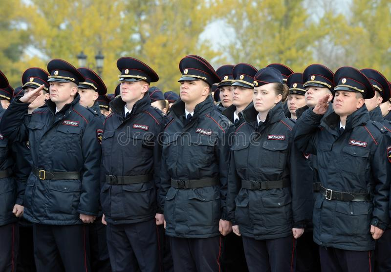Cadets of the police of the Moscow Law University of the Ministry of Internal Affairs of Russia on the ceremonial building. MOSCOW, RUSSIA-OCTOBER 17, 2015 royalty free stock photos