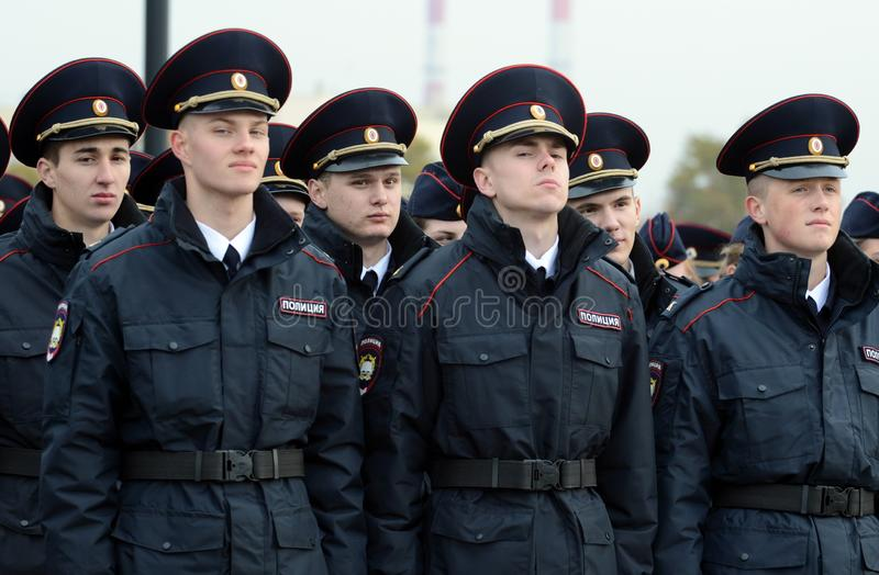 Cadets of the police of the Moscow Law University of the Ministry of Internal Affairs of Russia on the ceremonial building. MOSCOW, RUSSIA-OCTOBER 17, 2015 royalty free stock images