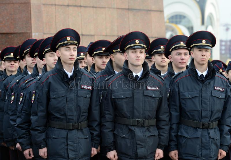 Cadets of the police of the Moscow Law University of the Ministry of Internal Affairs of Russia on the ceremonial building. MOSCOW, RUSSIA-OCTOBER 17, 2015 stock photos