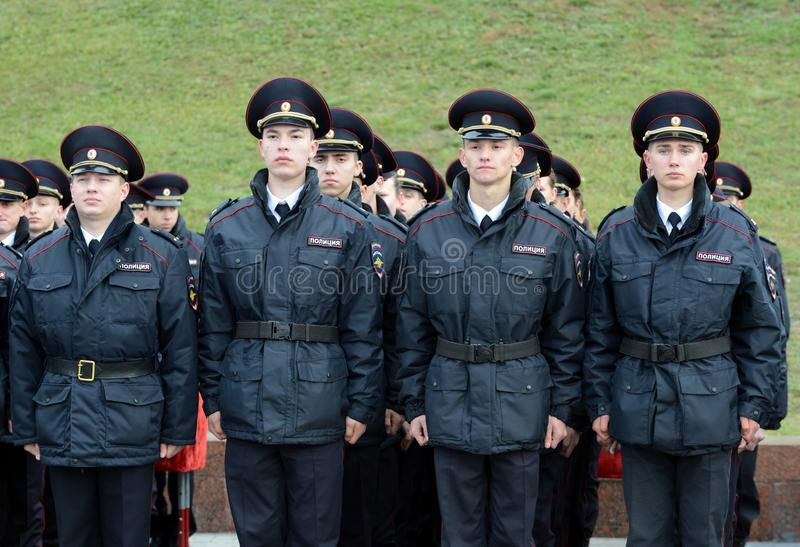 Cadets of the police of the Moscow Law University of the Ministry of Internal Affairs of Russia on the ceremonial building. MOSCOW, RUSSIA-OCTOBER 17, 2015 stock photography