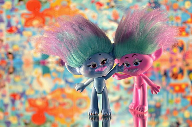 Moscow,Russia-October 2 2018: colorful trolls hasbro. Children`s toy trolls from hasbro stock images