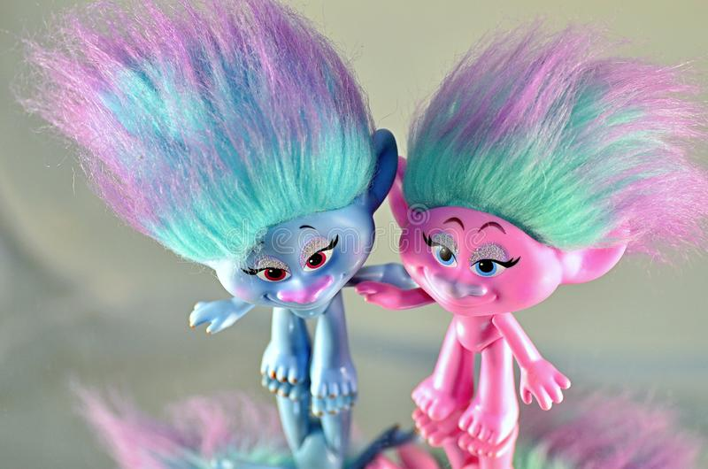Moscow,Russia-October 2 2018: colorful trolls hasbro. Children`s toy trolls from hasbro royalty free stock photos