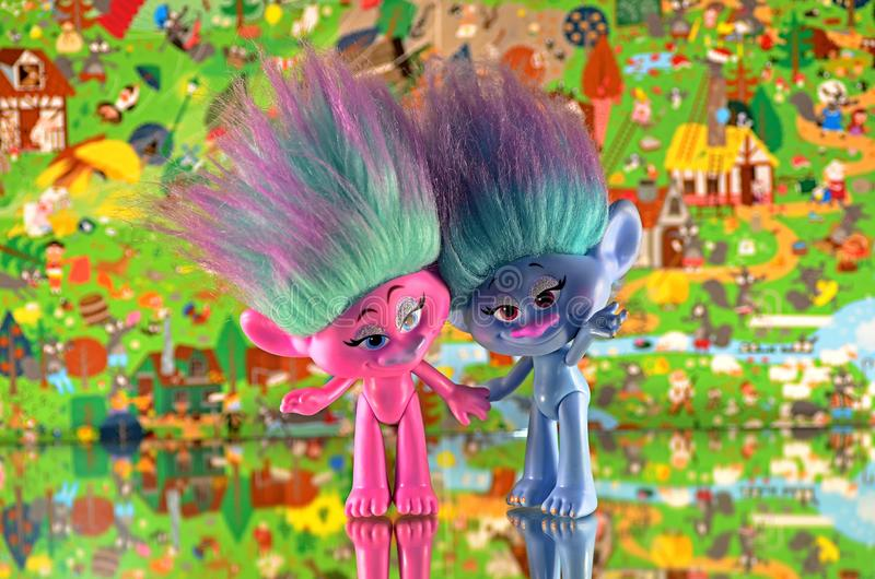 Moscow,Russia-October 2 2018: colorful trolls hasbro. Children`s toy trolls from hasbro royalty free stock image