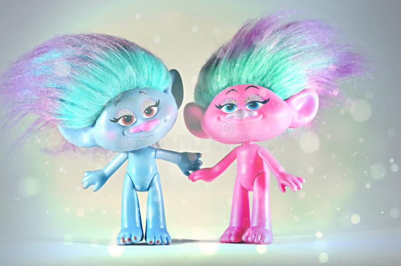 Moscow,Russia-October 2 2018: colorful trolls hasbro. Children`s toy trolls from hasbro stock photo