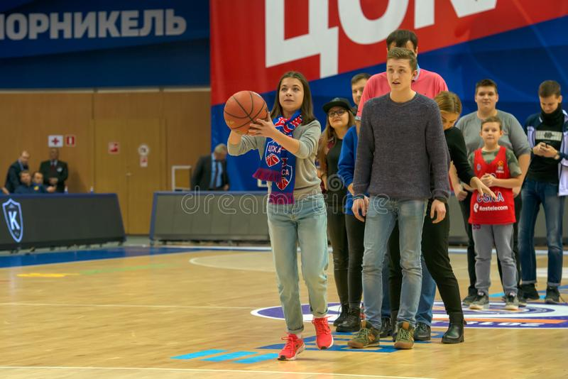 Competitions for spectators of a basketball game. MOSCOW, RUSSIA - OCTOBER 29, 2018: Competitions for spectators of a basketball game CSKA vs Parma Perm on the royalty free stock photo