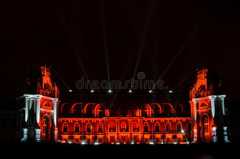 MOSCOW, RUSSIA - OCTOBER 14, 2014: Festival circle of light -Grand Palace, Tsaritsyno stock image