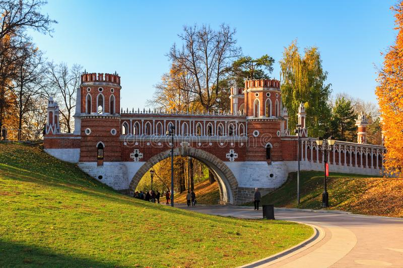Moscow, Russia - October 17, 2018: Figured bridge in Tsaritsyno park in Moscow on a blue sky background at sunny autumn day stock photo