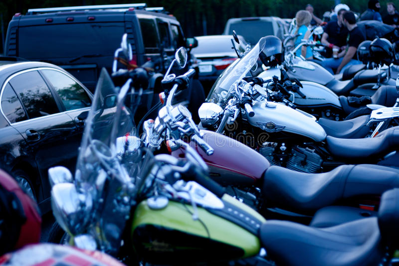 MOSCOW, RUSSIA - OCTOBER 6, 2013: Motorcycles parked in a row. On the viewing platform Vorobyovy Gory near Moscow State University named after Lomonosov. This royalty free stock images