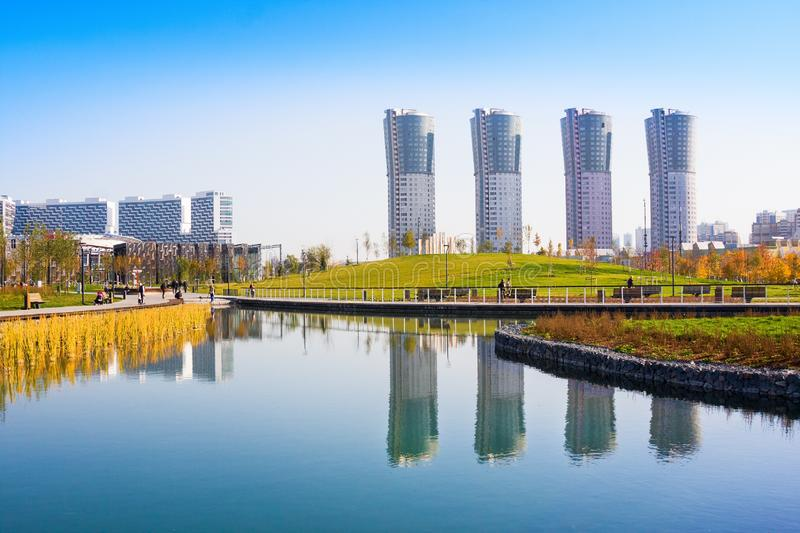 New city landscape park `Khodynskoe field` and modern skyscrapers, Moscow, Russia. It opened in september of 2018. Total area of p. Moscow, Russia - October 18 royalty free stock photos