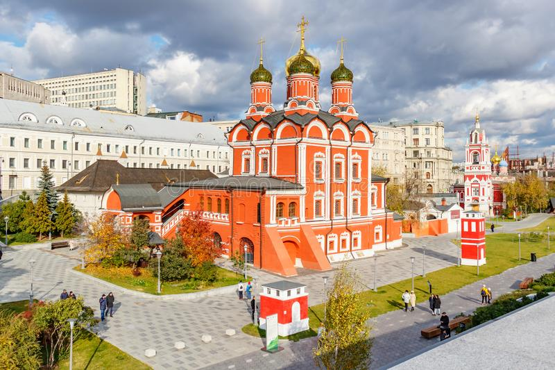Moscow, Russia - October 08, 2019: Panorama of Znamensky Cathedral in Moscow against cloudy sky in sunlight. View from Zaryadye. Park at autumn day royalty free stock image