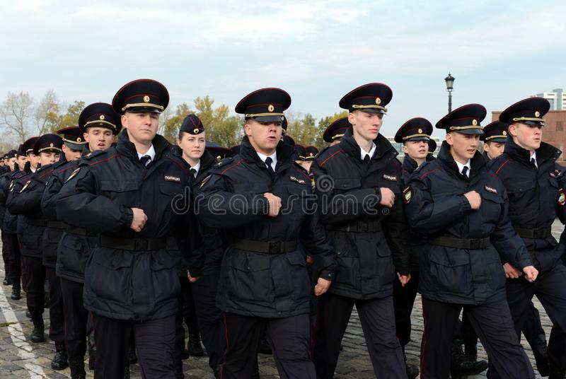 In the parade of police cadets on Poklonnaya hill in Moscow royalty free stock photos