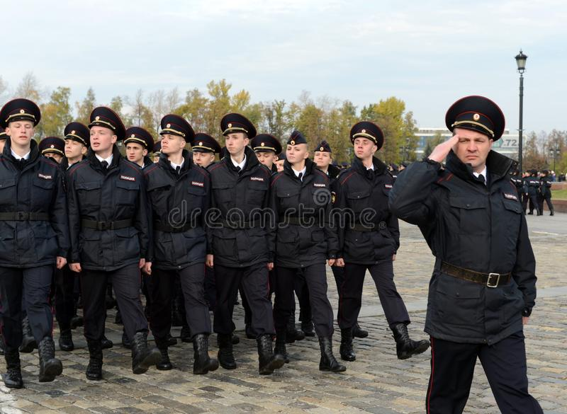In the parade of police cadets on Poklonnaya hill in Moscow royalty free stock images